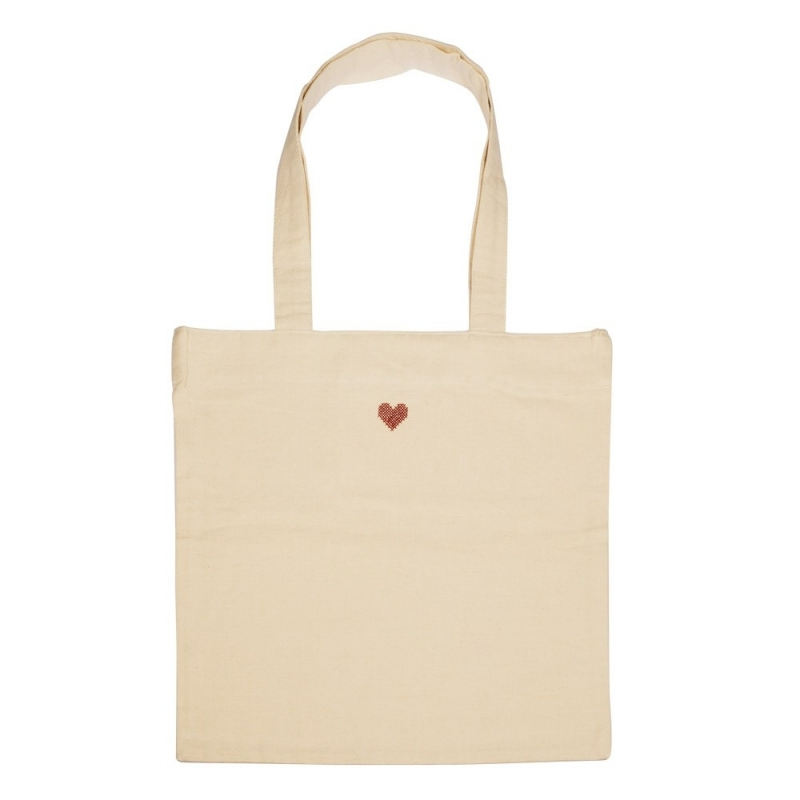 Sac coeur brodé en coton - Boutique Les inutiles